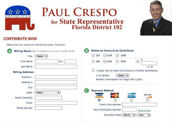 Paul Crespo for State Representative 2011 - Donation page